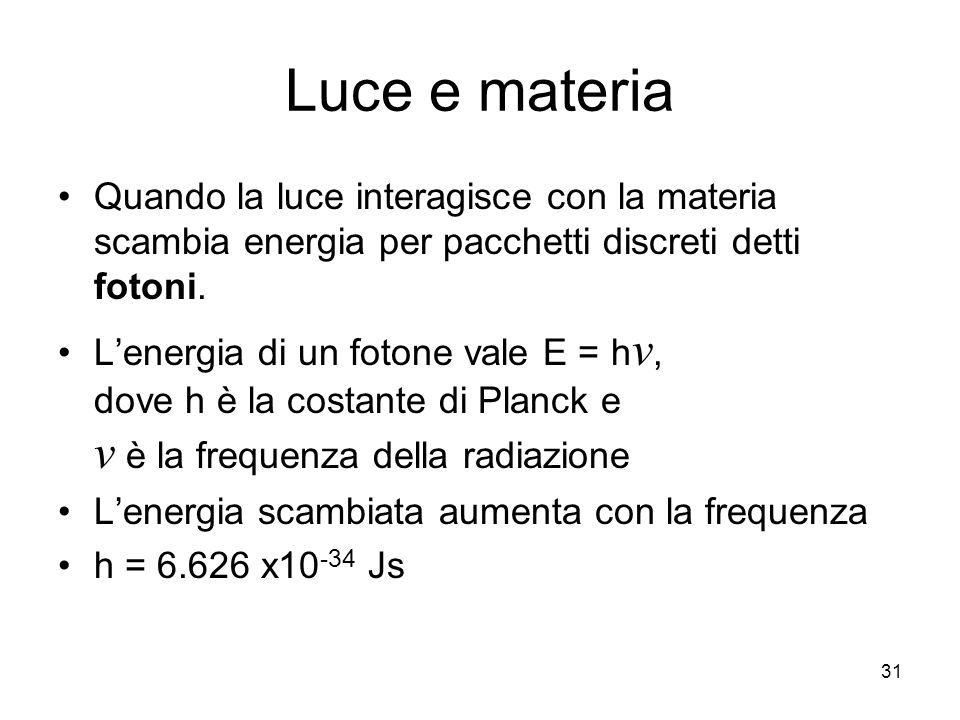 Luce e materia Quando la luce interagisce con la materia scambia energia per pacchetti discreti detti fotoni.