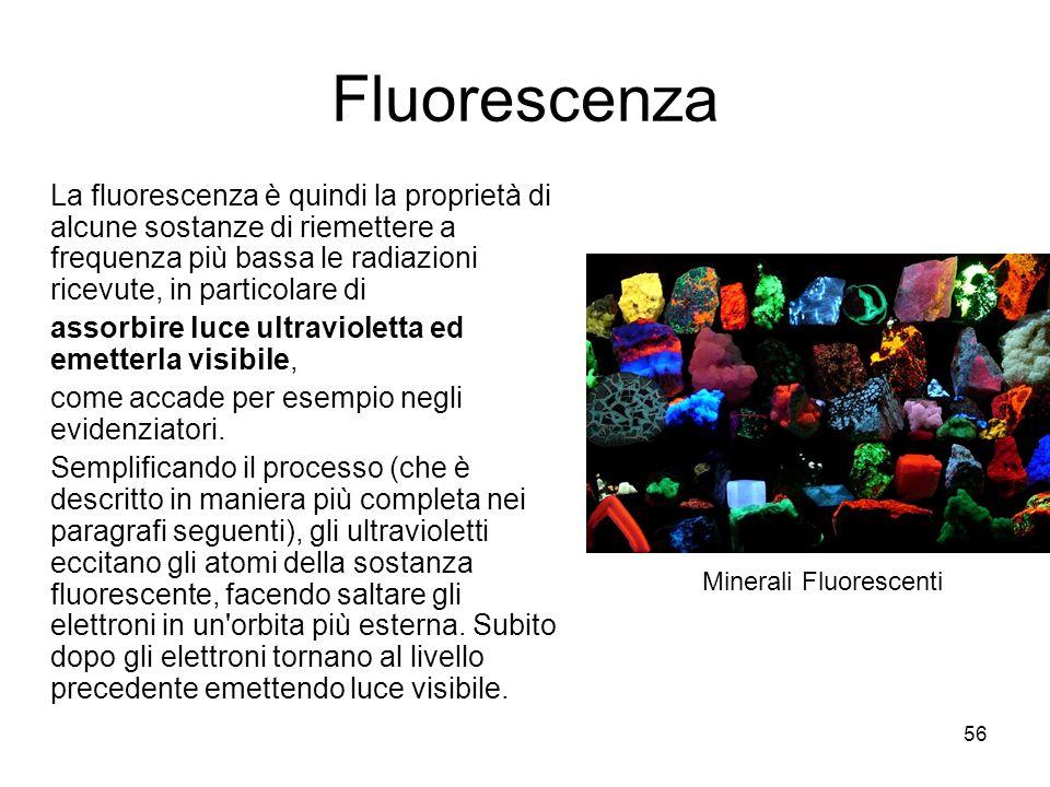 Fluorescenza La fluorescenza è quindi la proprietà di alcune sostanze di riemettere a frequenza più bassa le radiazioni ricevute, in particolare di.