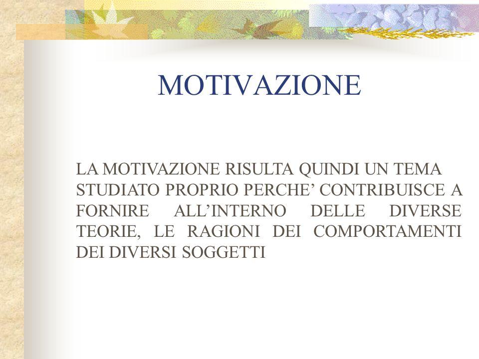 MOTIVAZIONE LA MOTIVAZIONE RISULTA QUINDI UN TEMA