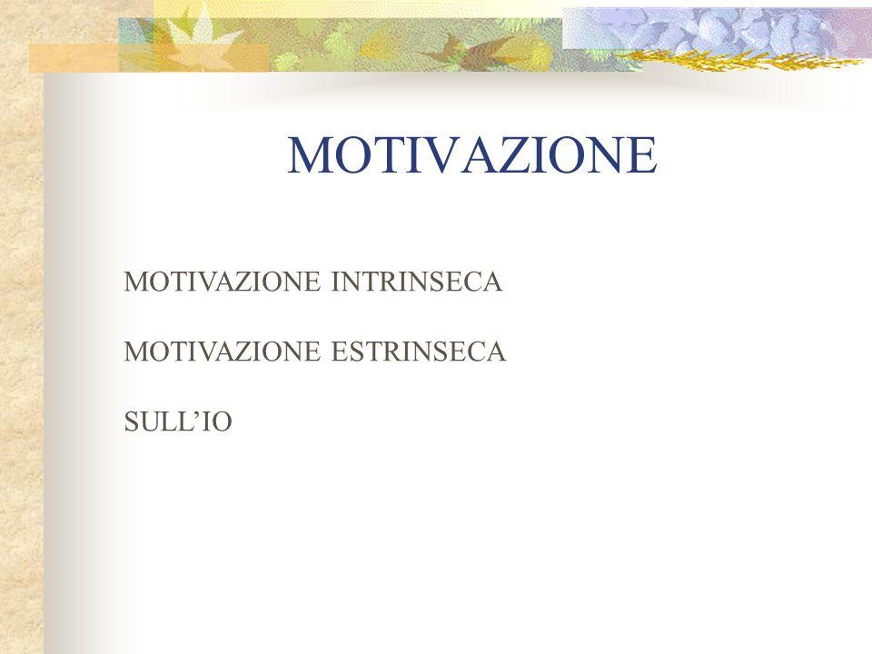 MOTIVAZIONE MOTIVAZIONE INTRINSECA MOTIVAZIONE ESTRINSECA SULL'IO