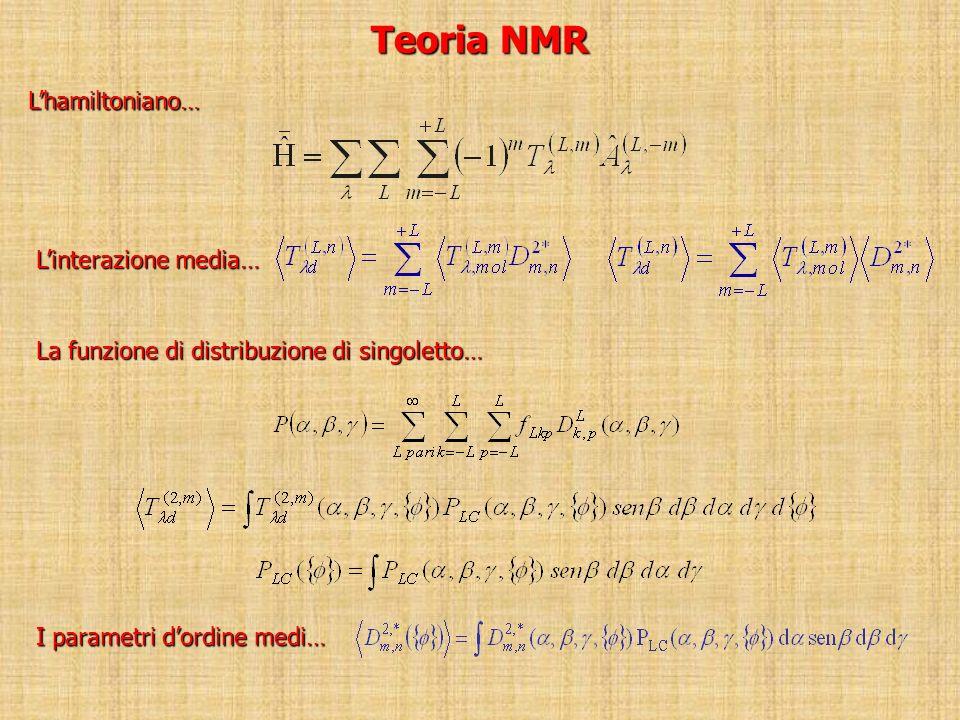 Teoria NMR L'hamiltoniano… L'interazione media…