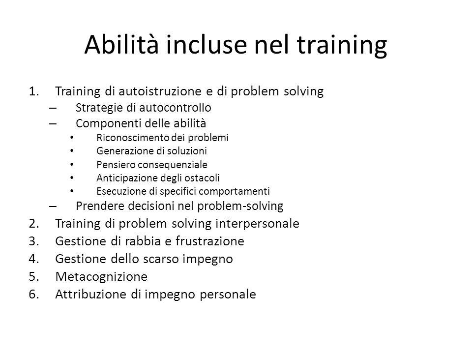Abilità incluse nel training