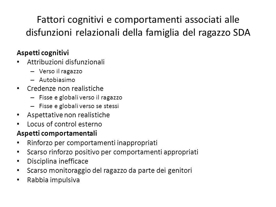 Fattori cognitivi e comportamenti associati alle disfunzioni relazionali della famiglia del ragazzo SDA
