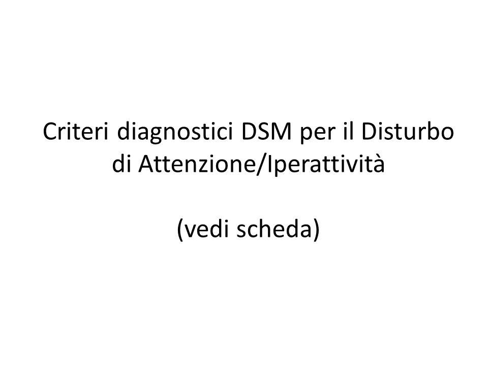 Criteri diagnostici DSM per il Disturbo di Attenzione/Iperattività (vedi scheda)