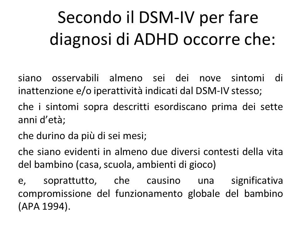 Secondo il DSM-IV per fare diagnosi di ADHD occorre che: