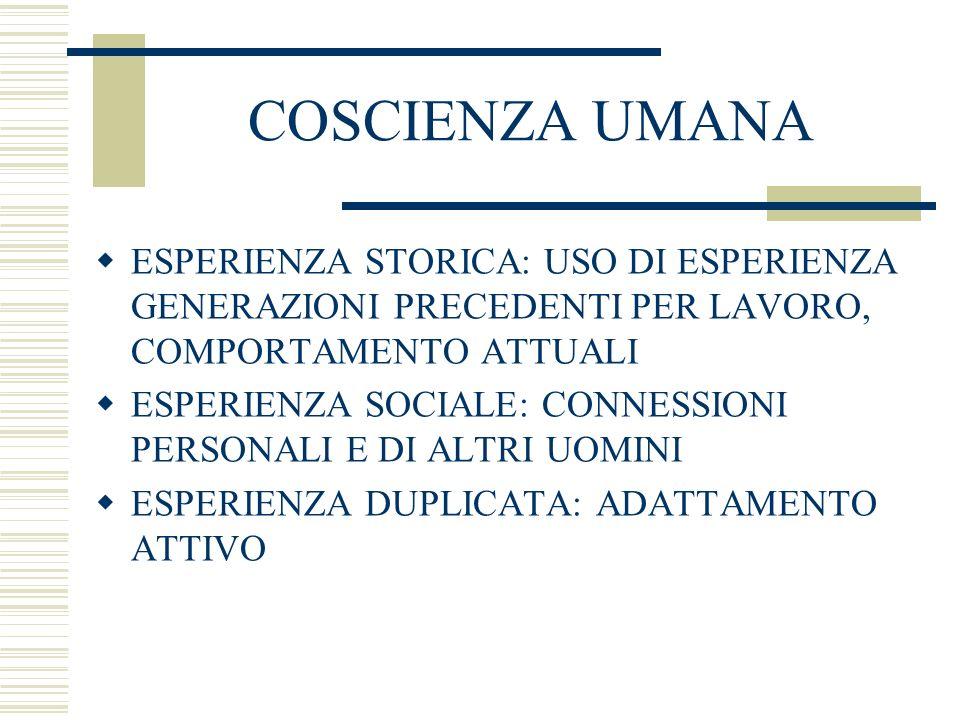 COSCIENZA UMANAESPERIENZA STORICA: USO DI ESPERIENZA GENERAZIONI PRECEDENTI PER LAVORO, COMPORTAMENTO ATTUALI.