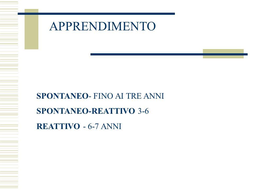 APPRENDIMENTO SPONTANEO- FINO AI TRE ANNI SPONTANEO-REATTIVO 3-6