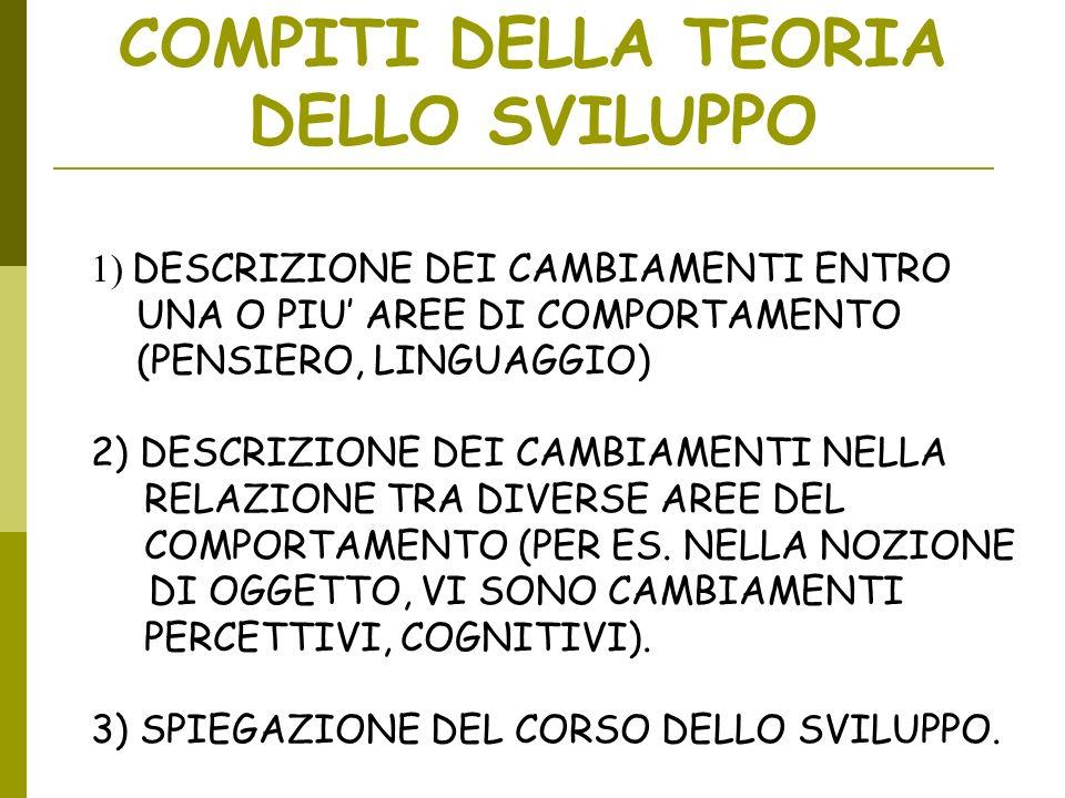 COMPITI DELLA TEORIA DELLO SVILUPPO