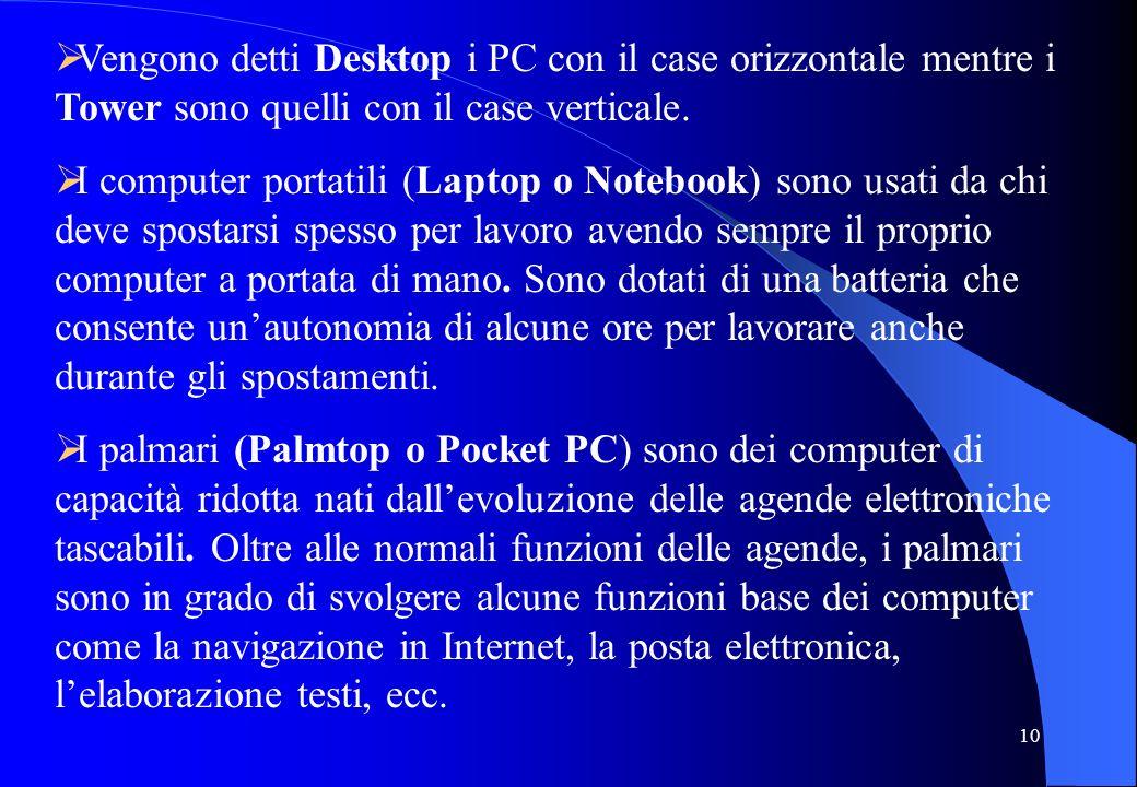 Vengono detti Desktop i PC con il case orizzontale mentre i Tower sono quelli con il case verticale.