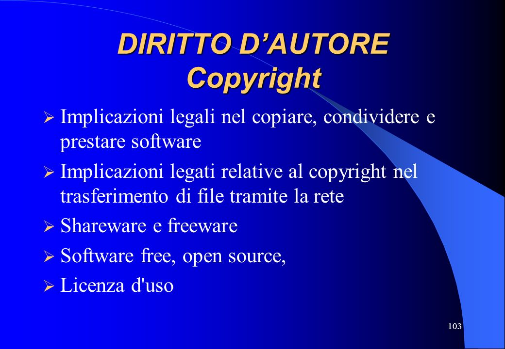 DIRITTO D'AUTORE Copyright