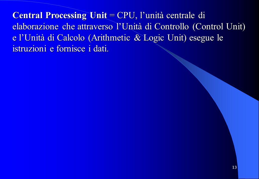 Central Processing Unit = CPU, l'unità centrale di elaborazione che attraverso l'Unità di Controllo (Control Unit) e l'Unità di Calcolo (Arithmetic & Logic Unit) esegue le istruzioni e fornisce i dati.