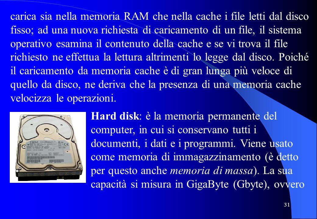 carica sia nella memoria RAM che nella cache i file letti dal disco fisso; ad una nuova richiesta di caricamento di un file, il sistema operativo esamina il contenuto della cache e se vi trova il file richiesto ne effettua la lettura altrimenti lo legge dal disco. Poiché il caricamento da memoria cache è di gran lunga più veloce di quello da disco, ne deriva che la presenza di una memoria cache velocizza le operazioni.