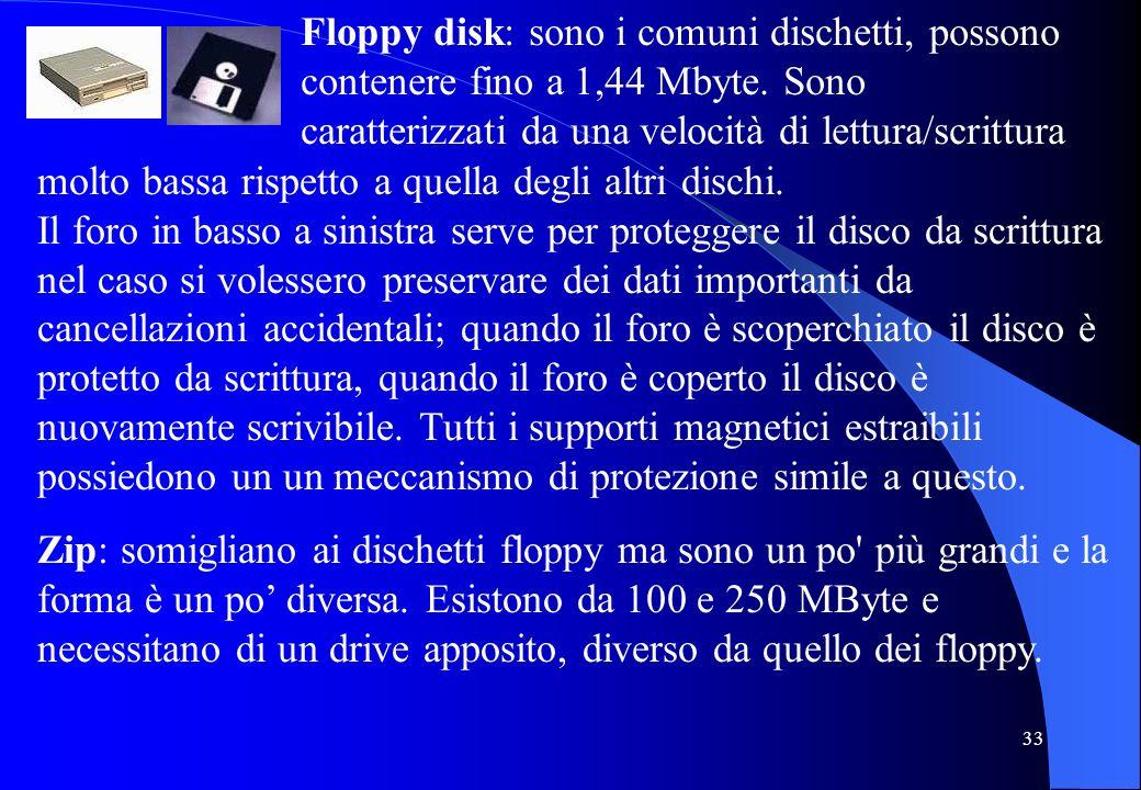 Floppy disk: sono i comuni dischetti, possono contenere fino a 1,44 Mbyte. Sono caratterizzati da una velocità di lettura/scrittura