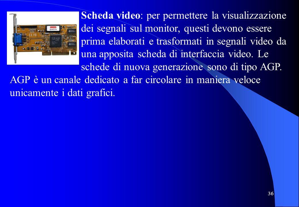 Scheda video: per permettere la visualizzazione dei segnali sul monitor, questi devono essere prima elaborati e trasformati in segnali video da una apposita scheda di interfaccia video. Le schede di nuova generazione sono di tipo AGP.