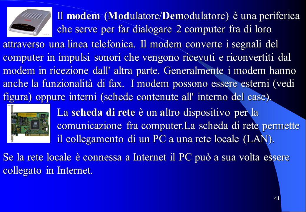 Il modem (Modulatore/Demodulatore) è una periferica che serve per far dialogare 2 computer fra di loro