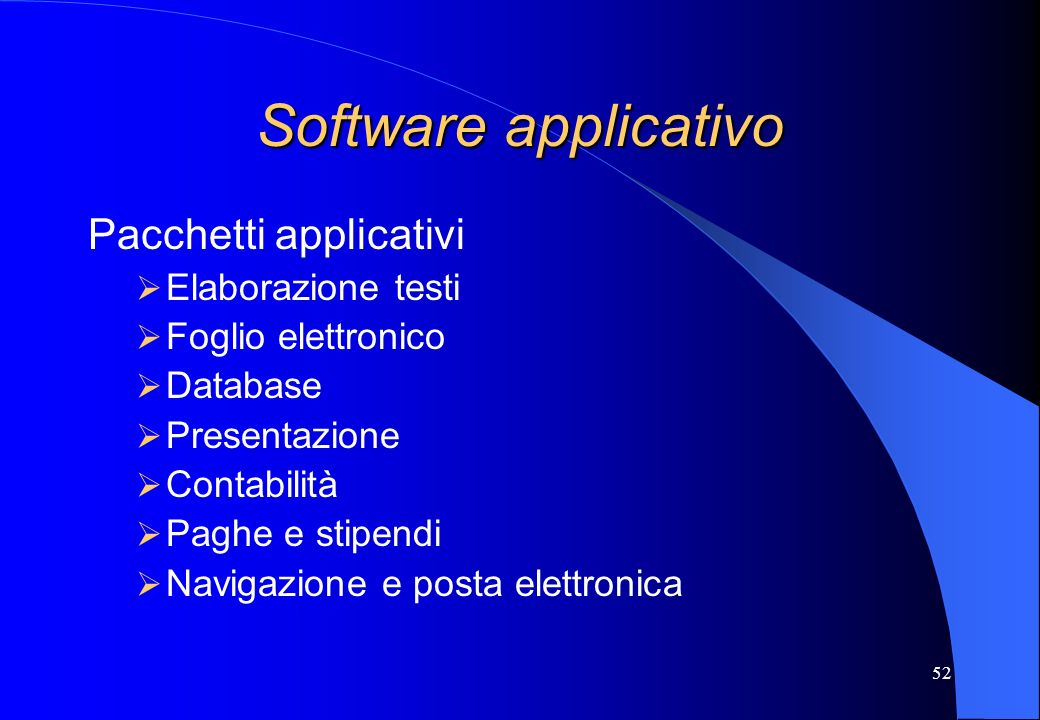 Software applicativo Pacchetti applicativi Elaborazione testi