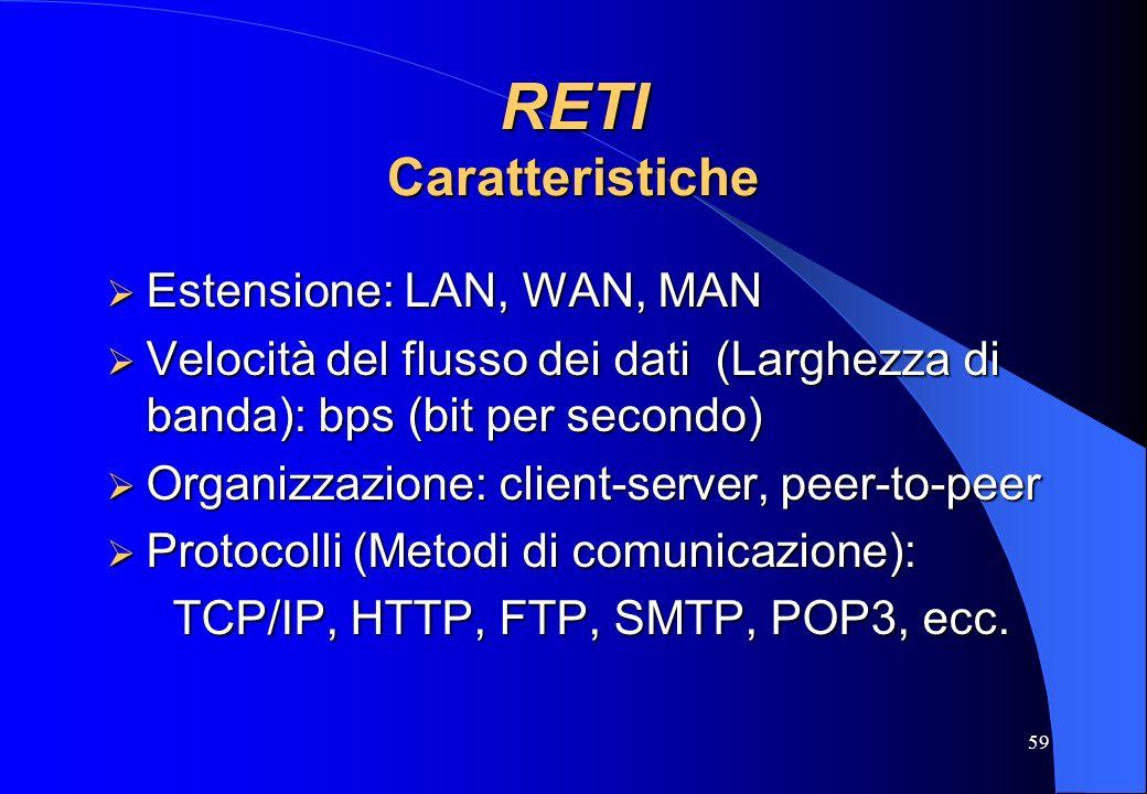RETI Caratteristiche Estensione: LAN, WAN, MAN