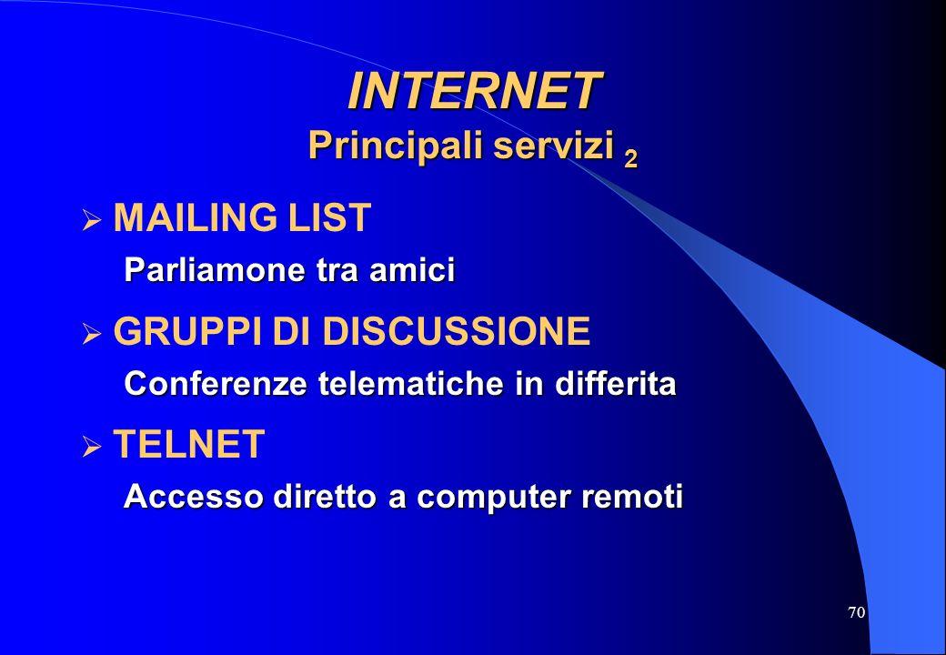 INTERNET Principali servizi 2