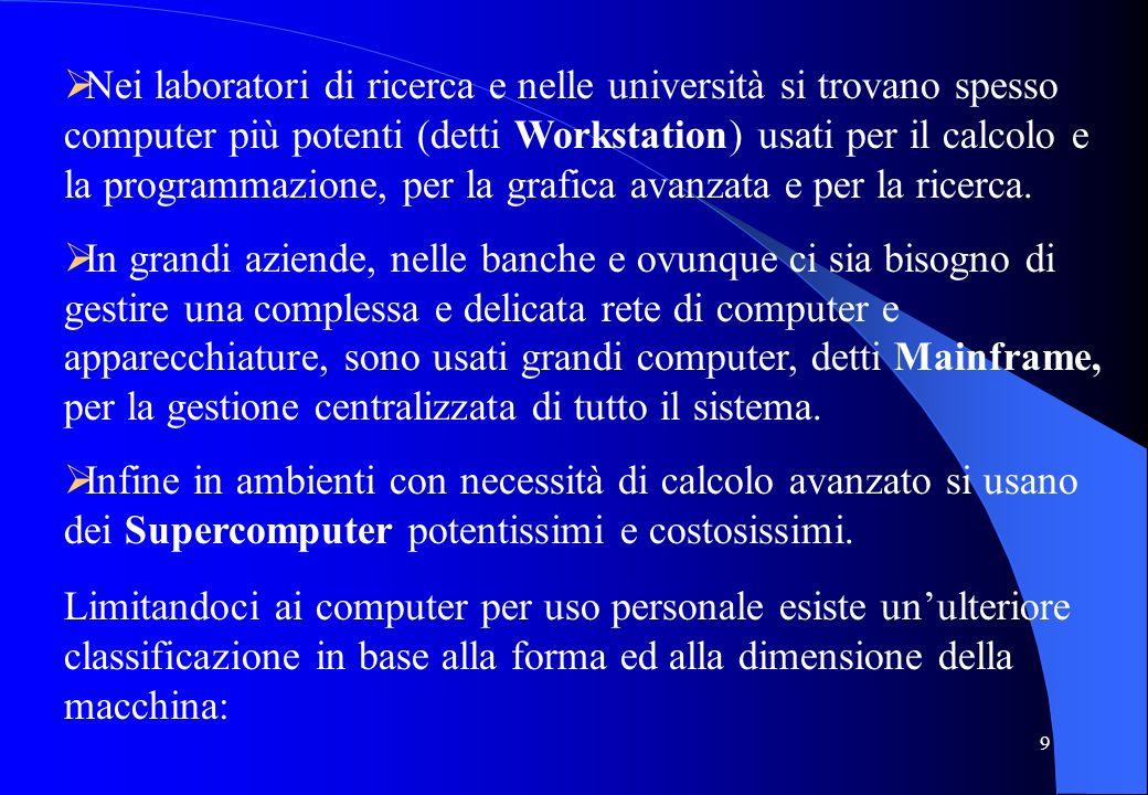 Nei laboratori di ricerca e nelle università si trovano spesso computer più potenti (detti Workstation) usati per il calcolo e la programmazione, per la grafica avanzata e per la ricerca.