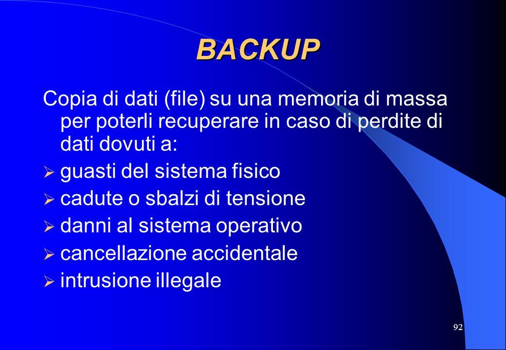 BACKUP Copia di dati (file) su una memoria di massa per poterli recuperare in caso di perdite di dati dovuti a: