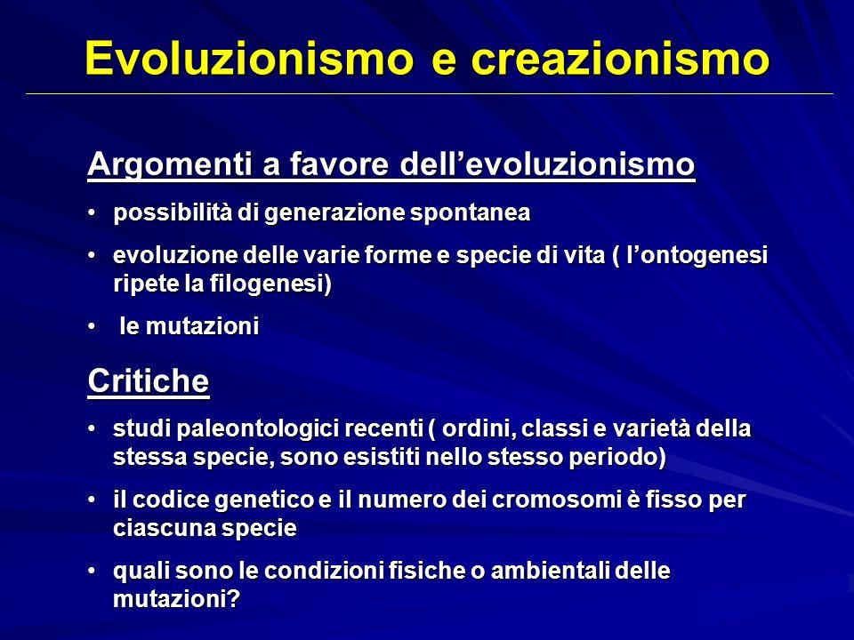 Evoluzionismo e creazionismo