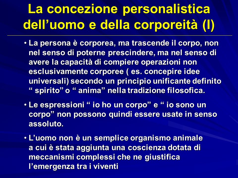 La concezione personalistica dell'uomo e della corporeità (I)
