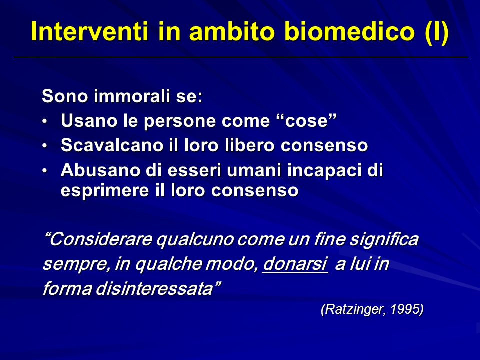 Interventi in ambito biomedico (I)