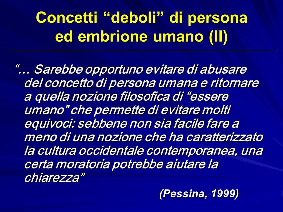 Concetti deboli di persona ed embrione umano (II)