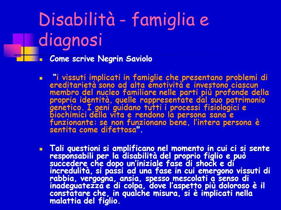 Disabilità - famiglia e diagnosi