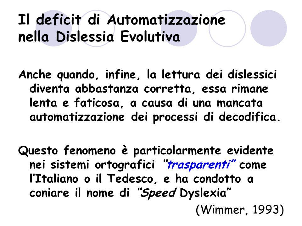 Il deficit di Automatizzazione nella Dislessia Evolutiva