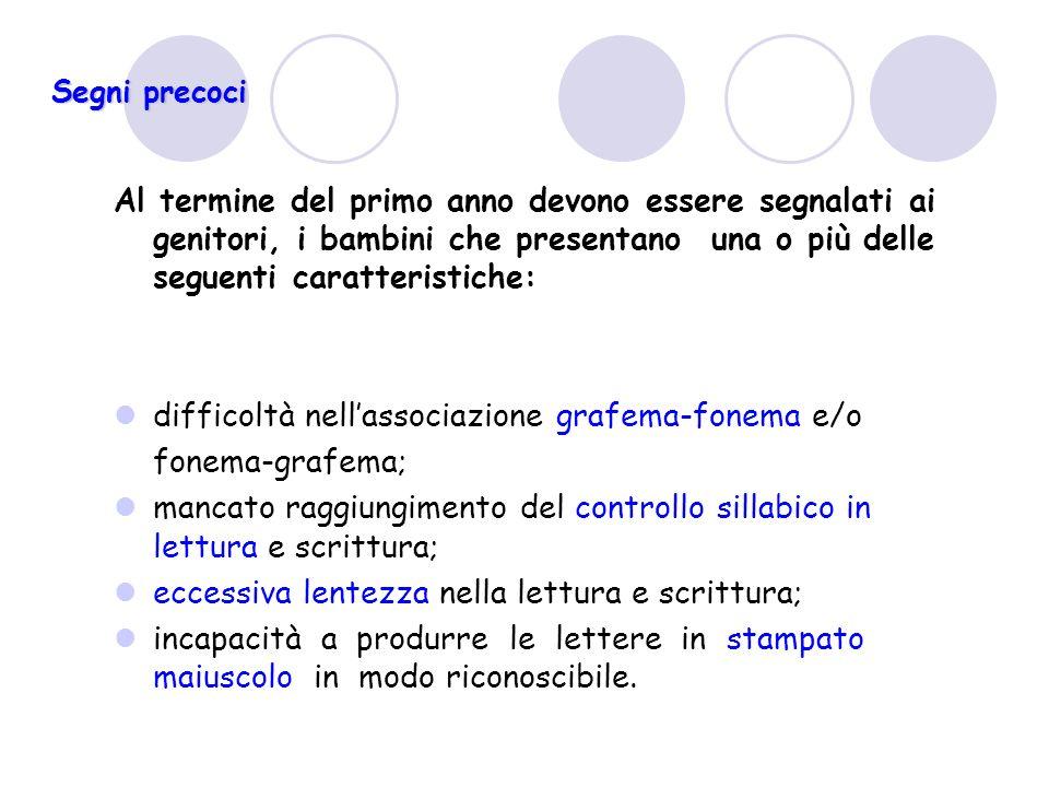 difficoltà nell'associazione grafema-fonema e/o fonema-grafema;
