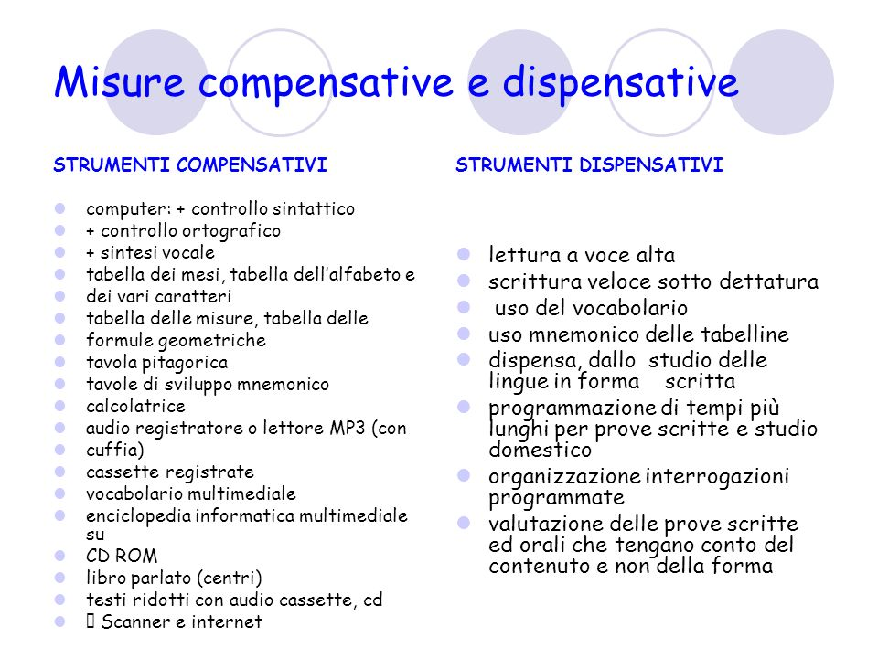 Misure compensative e dispensative