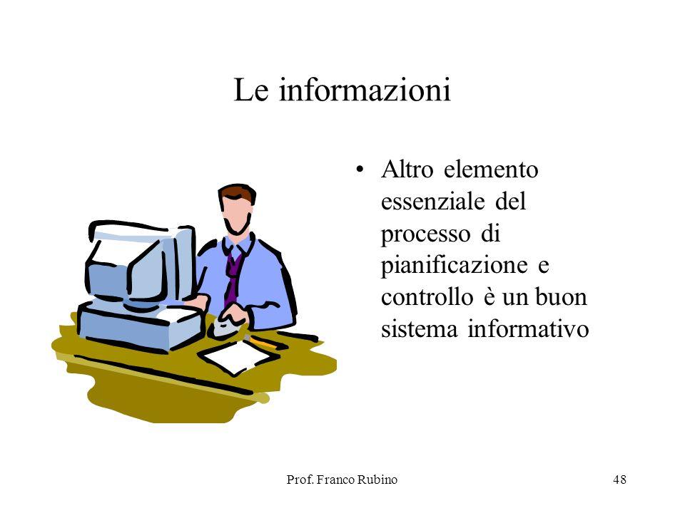 Le informazioni Altro elemento essenziale del processo di pianificazione e controllo è un buon sistema informativo.