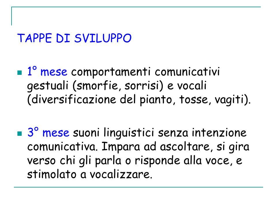 TAPPE DI SVILUPPO 1° mese comportamenti comunicativi gestuali (smorfie, sorrisi) e vocali (diversificazione del pianto, tosse, vagiti).