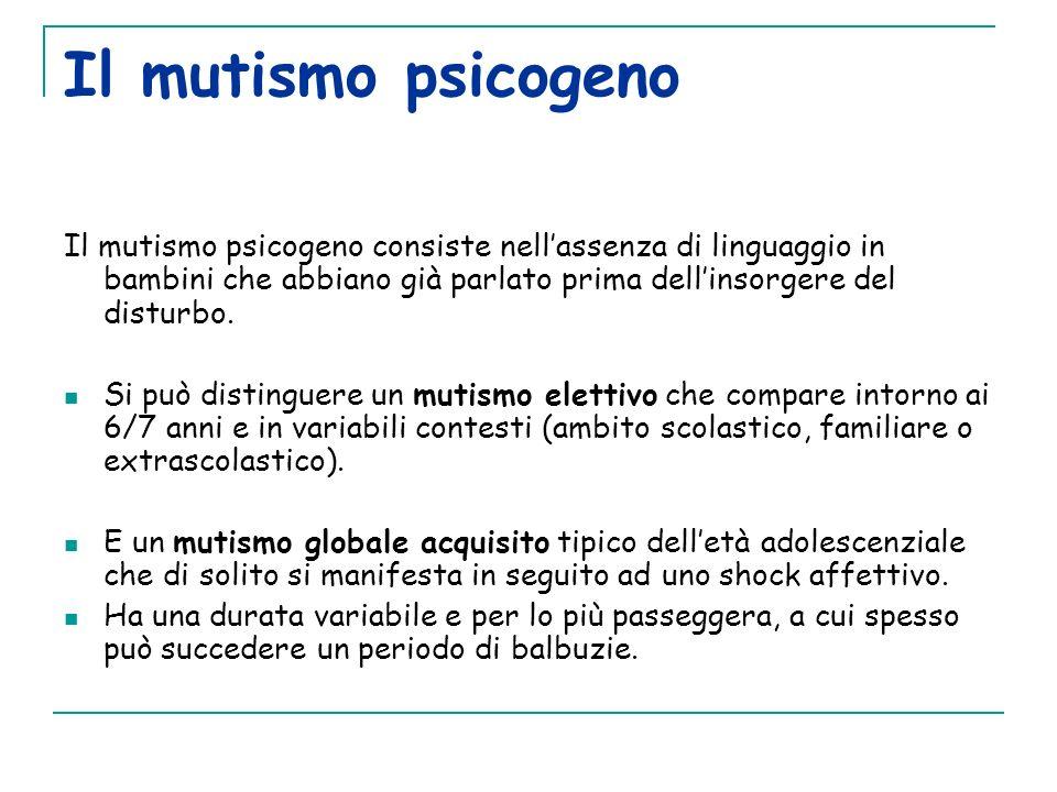Il mutismo psicogeno Il mutismo psicogeno consiste nell'assenza di linguaggio in bambini che abbiano già parlato prima dell'insorgere del disturbo.