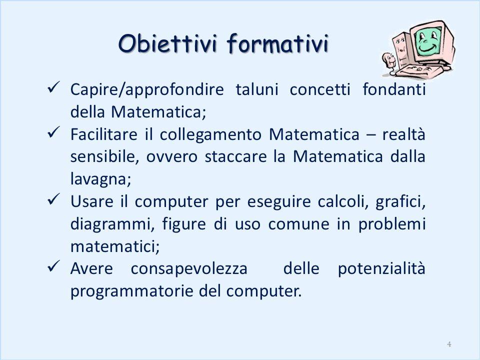 Obiettivi formativiCapire/approfondire taluni concetti fondanti della Matematica;