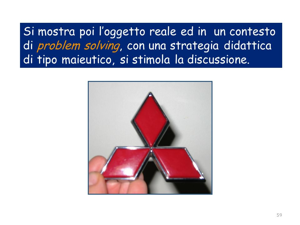 Si mostra poi l'oggetto reale ed in un contesto di problem solving, con una strategia didattica di tipo maieutico, si stimola la discussione.