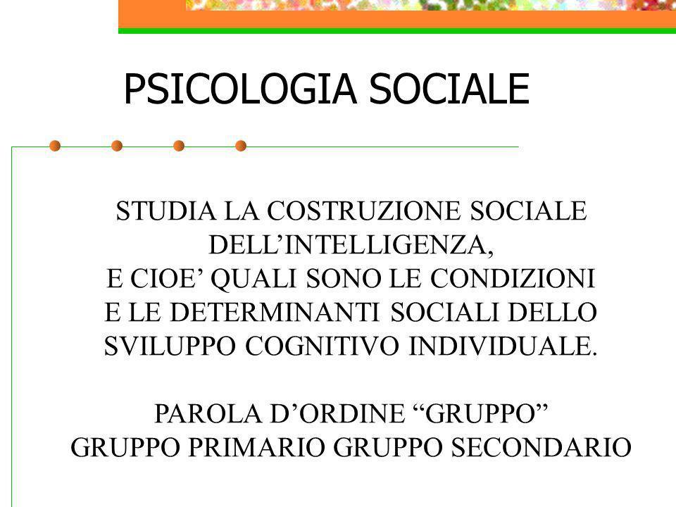 PSICOLOGIA SOCIALE STUDIA LA COSTRUZIONE SOCIALE DELL'INTELLIGENZA,