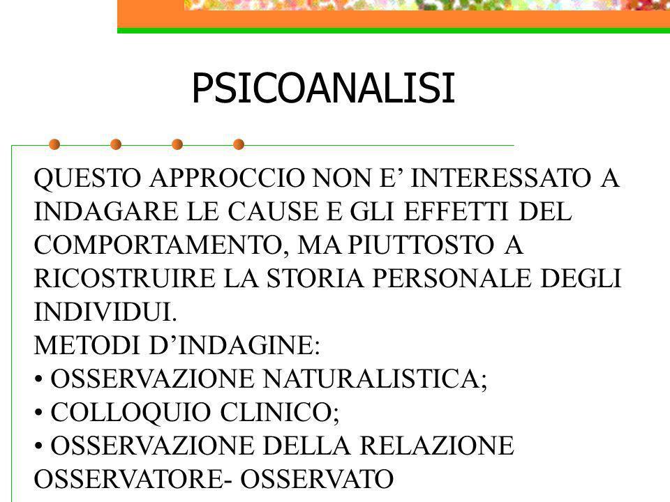 PSICOANALISI QUESTO APPROCCIO NON E' INTERESSATO A