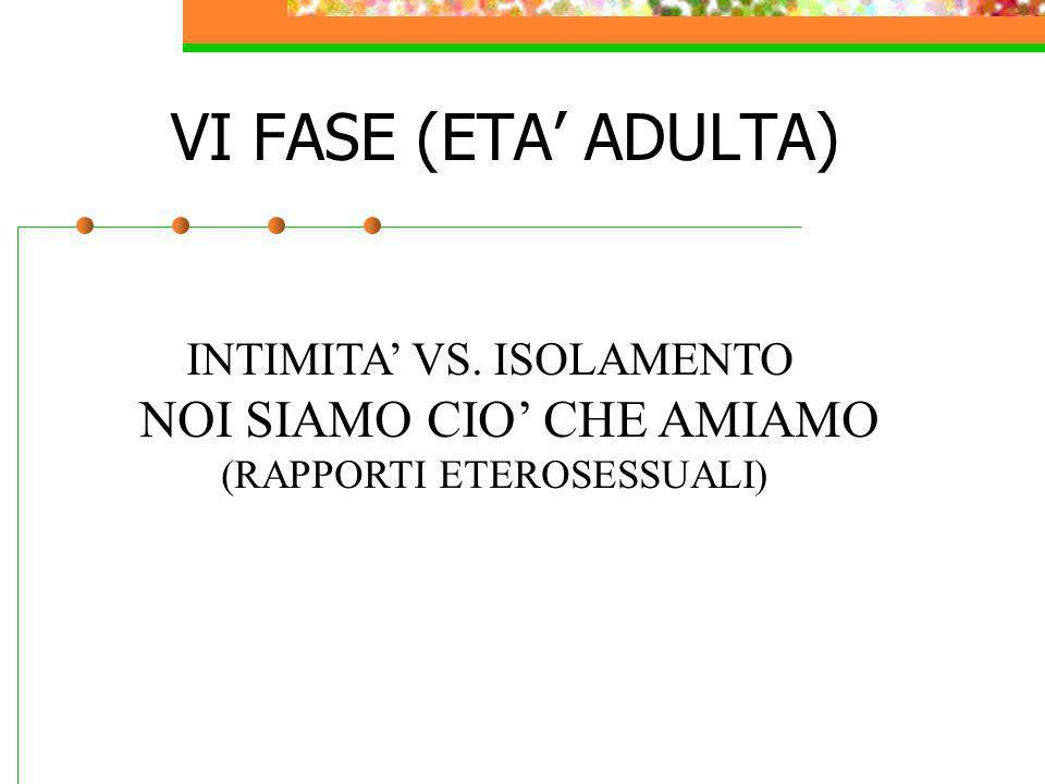 VI FASE (ETA' ADULTA) NOI SIAMO CIO' CHE AMIAMO