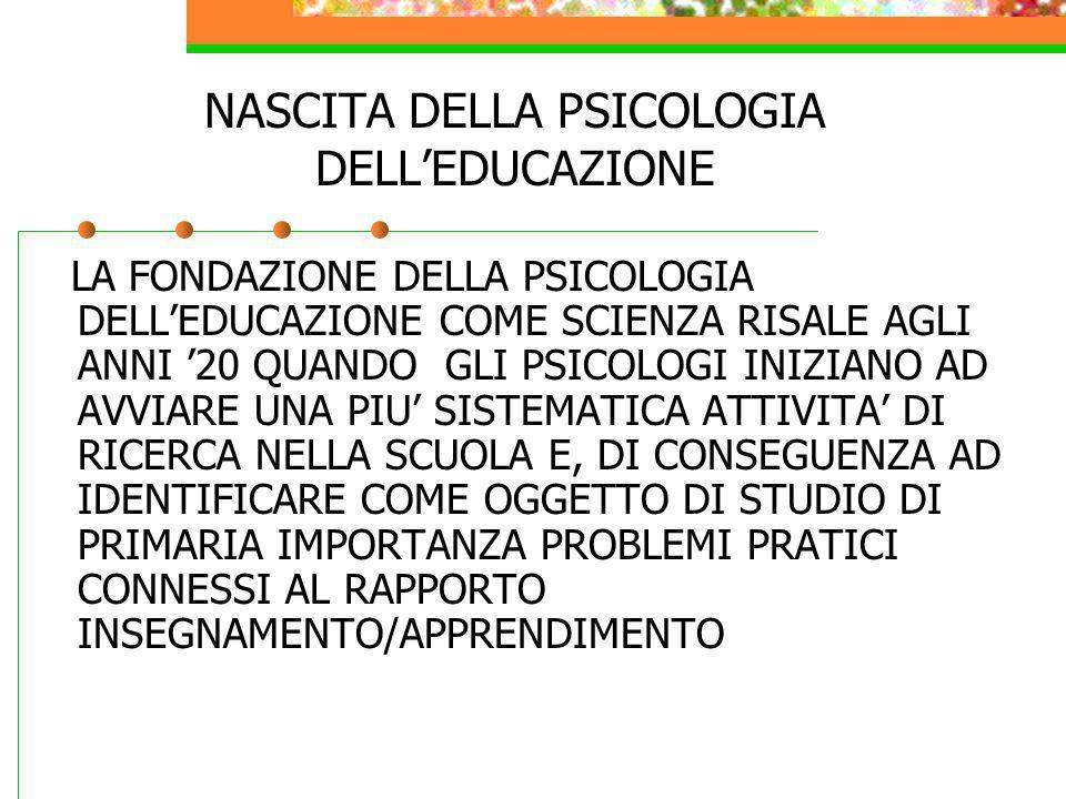 NASCITA DELLA PSICOLOGIA DELL'EDUCAZIONE