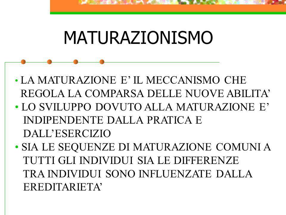 MATURAZIONISMO REGOLA LA COMPARSA DELLE NUOVE ABILITA'
