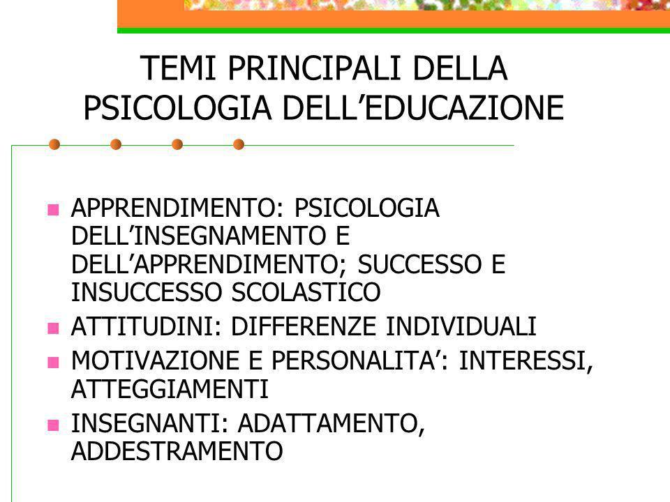 TEMI PRINCIPALI DELLA PSICOLOGIA DELL'EDUCAZIONE