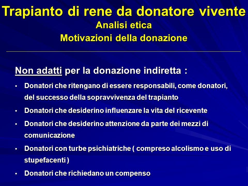 Trapianto di rene da donatore vivente Analisi etica Motivazioni della donazione