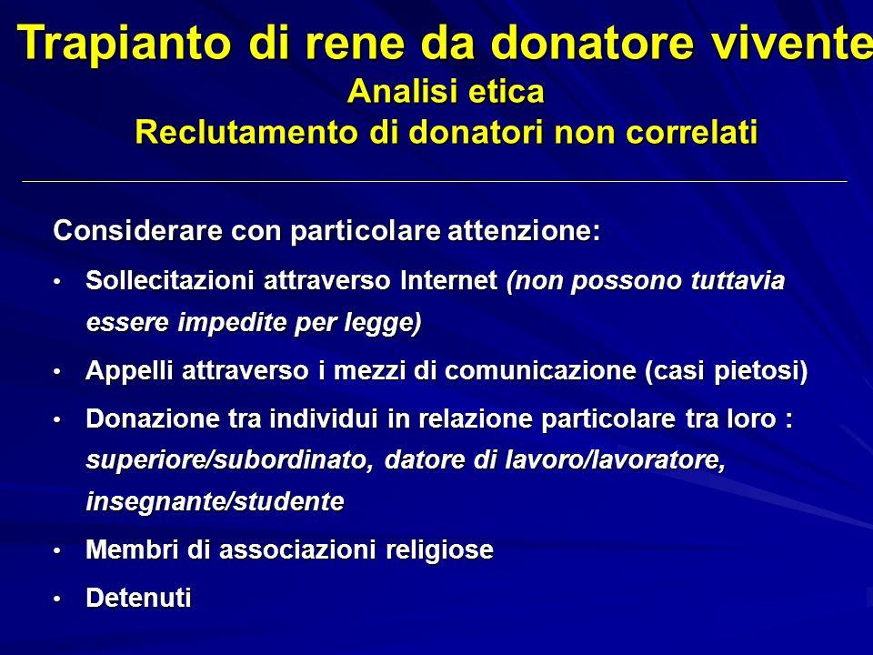 Trapianto di rene da donatore vivente Analisi etica Reclutamento di donatori non correlati