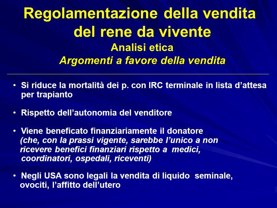 Regolamentazione della vendita Argomenti a favore della vendita