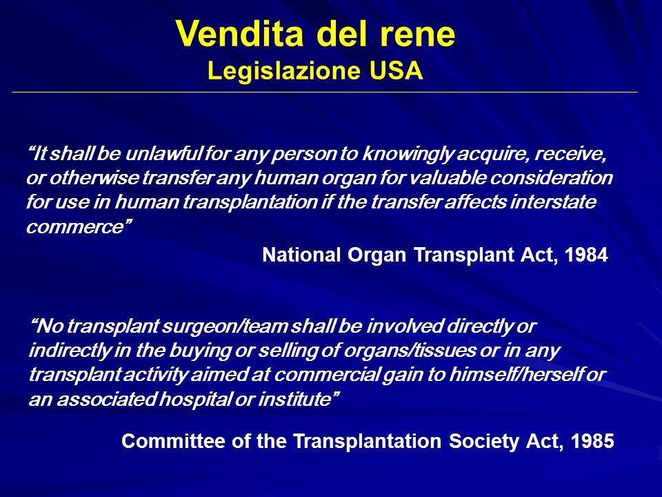 Vendita del rene Legislazione USA