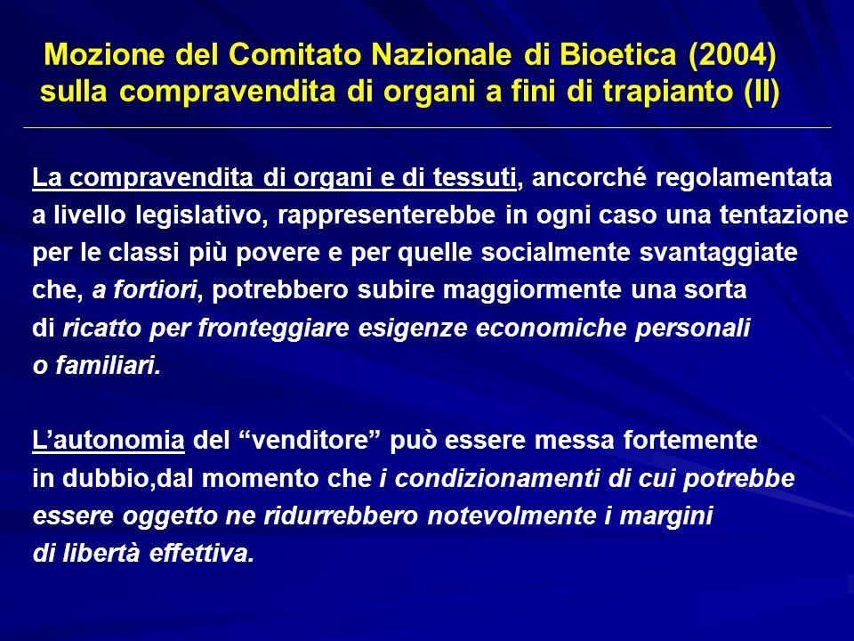 Mozione del Comitato Nazionale di Bioetica (2004)