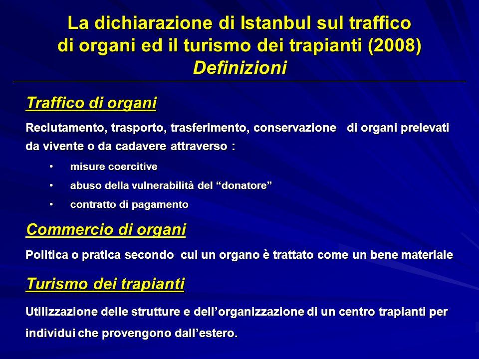 La dichiarazione di Istanbul sul traffico di organi ed il turismo dei trapianti (2008) Definizioni