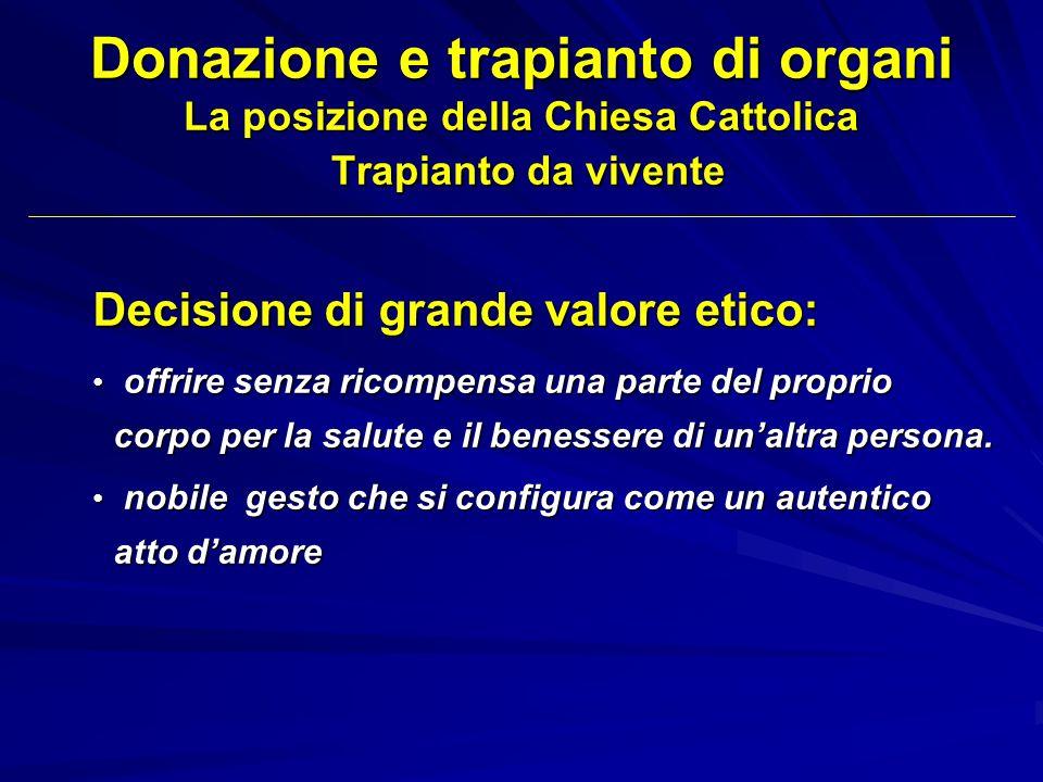 Donazione e trapianto di organi La posizione della Chiesa Cattolica Trapianto da vivente